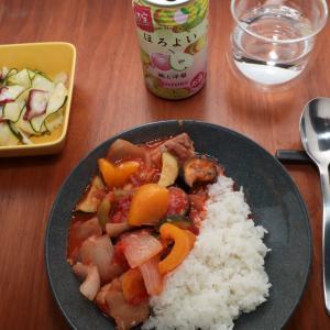鶏肉と夏野菜のトマト煮献立と子供部屋の模様替え開始