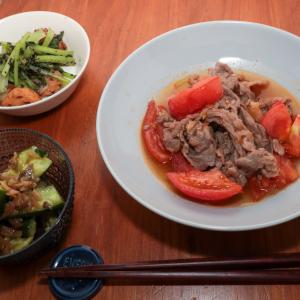 牛肉とトマトのすき煮献立
