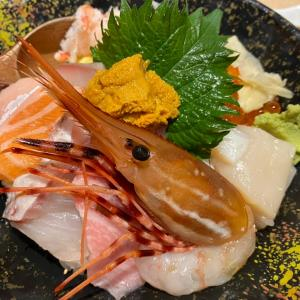 うまい鮨勘 北海道丼HKD288 肉厚なお刺身がたっぷりで 白飯ンゴーイ