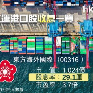 東方海外 (00316)オリエント・オーバーシーズ 特別配当  29.1%!!!
