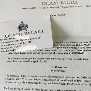 IOLANI PALACEのメンバーズカードとハワイのお花たち