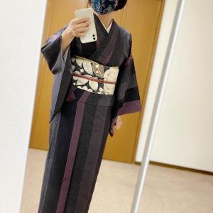 単衣紬のコーデ
