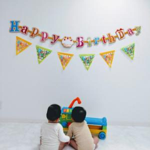 双子が1歳になりました。手作りお誕生日会。