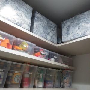 キャンドゥで解決。素敵すぎパントリー収納に大理石柄BOX。