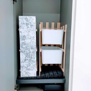 セリアで解決。玄関収納の完成です。