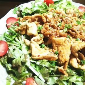 焼き肉のサラダ仕立て♡サラダ野菜もいっしよにモリモリ。