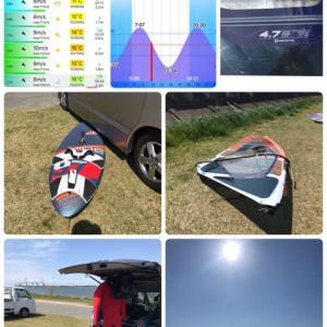 今日は強風注意報が発令されていたのでウィンドサーフィンを