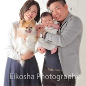 愛犬と赤ちゃんとパパママ(*´˘`*)