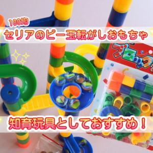 セリア100均・知育玩具ブロックタワーボール【ビー玉転がしおもちゃ】がピタゴラ装置みたいでおすすめ!