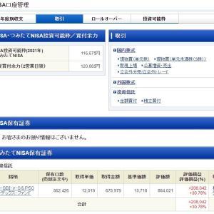 【妻のつみたてNISA】SBI・バンガード・S&P500 2021年9月15日購入実績