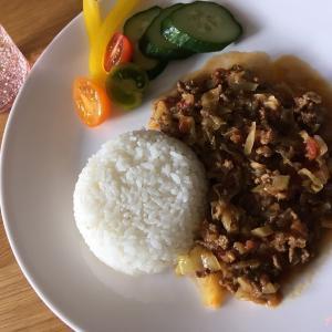 【ストゥブレシピ】無水料理:キャベツとひき肉のトマト風カレー