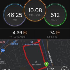 水戸黄門漫遊マラソン前、10kmテンポ走。