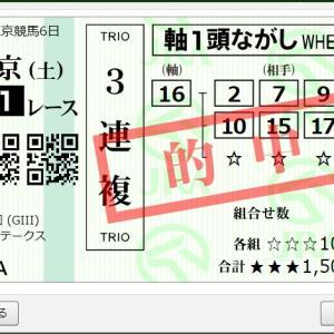 富士S(GⅢ)結果 3連続三連複的中!