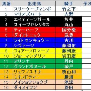 函館SS(GⅢ)枠順と予想オッズ