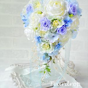 ブーケレッスン2作品目!サムシングブルーのティアドロップブーケ♡