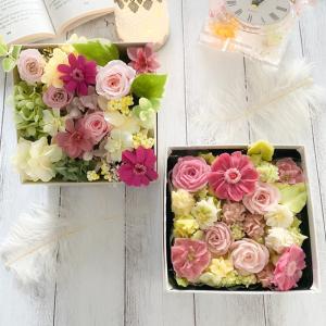 【生徒様作品】どっちが本物⁉︎あんフラワー&本物のお花のボックスフラワー♡