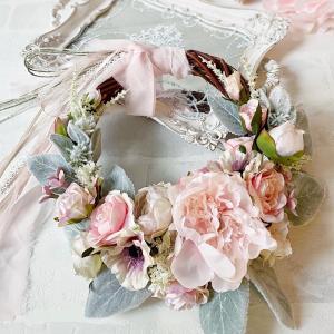 【生徒様作品】忙しい時こそ自分へのご褒美時間を♪優しいピンクのアンティークリースレッスン♡