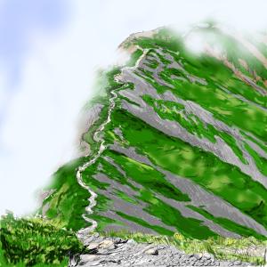 白馬岳近くの小蓮華山の稜線のイラストを描いてみた。