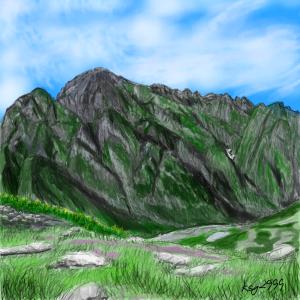 【思い出の山】剱岳の絵を描きました。
