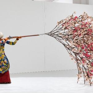 Woman Shooting Cherry Blossoms