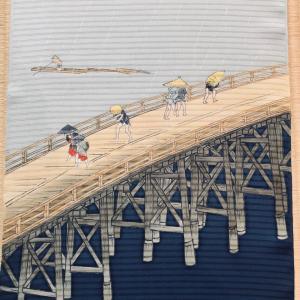 歌川広重の浮世絵を染帯に