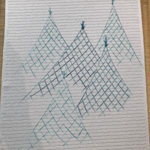 網干を描いた染帯