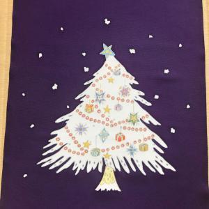 クリスマスツリーを描いた染帯