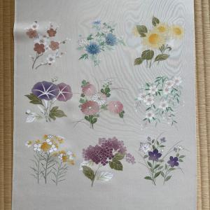 12か月の花々を描いた染帯