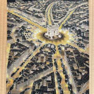 パリの夜景を描いた染帯