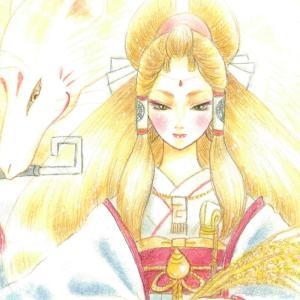 ⛩御神水で描いています☆9月の神様アート&メッセージ~宇迦之御魂大神~