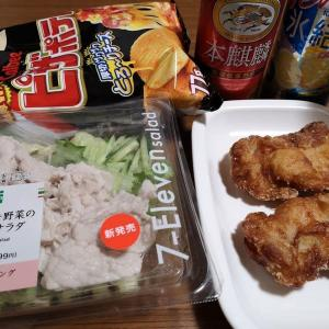 セブン:シャキシャキ野菜の豚しゃぶサラダ・とり龍田×2