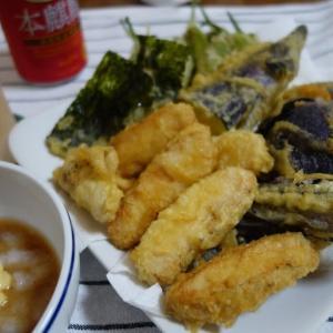 家呑み:季節の野菜とサラダチキンの天ぷら