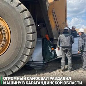 ゾッとするほど怖いドラレコ映像 採石場で超大型トラックがクルマを踏み潰す事故、車内にいた3人はかろうじて無事