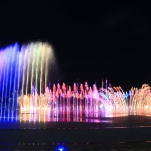 多大浦(タデポ)で行列の海鮮カルグクス(うどん)♫♫多大浦・夢の夕日噴水で噴水ショーを見る♡♡