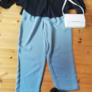 GU ブラックのオーバーサイズシャツとミントグリーンのテーパードパンツコーデ(着画)