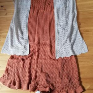 GU 透かし編みロングカーディガンベージュを羽織に透かし編みロングスカートを。それとお知らせ。