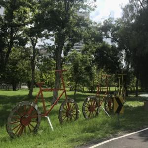 鉄道公園でサイクリング
