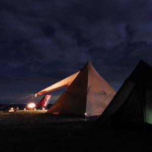 海辺の絶景キャンプ お台場海浜庭園 !  ②静かな夜そして・・・またもや強風編