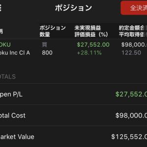 ROKUが5日間連続で株価上がって逆にビビっています 2019.11.17