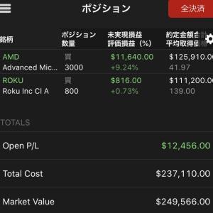 $AMD順調 $ROKUも少しだけプラスに! 2019.12.24
