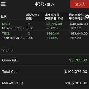 $TECLが10%と大きく下落 買値より下がるも購入はできず 2020.2.25