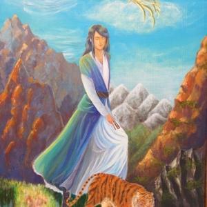 東の山岳に住む魔導師…アクリル画