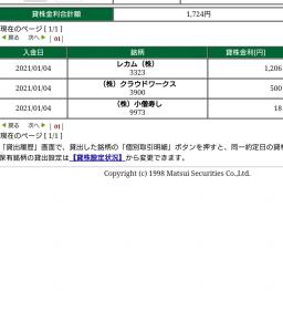 【貸株金利】1月の貸株金利入金が有りました。