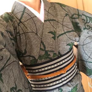 今日も着物~(4/16)&手ぬぐい半襟取り替えました~!