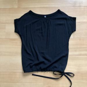 ユニクロのチュニックTシャツをブラウジングTシャツにリメイク