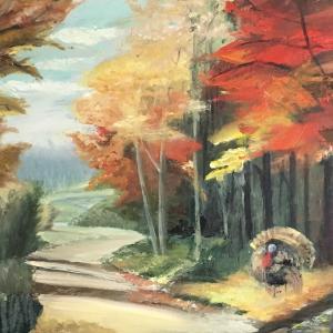 背景画「秋の七面鳥」(油絵/作成途中)