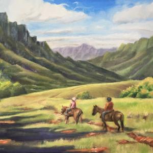 クアロアランチ乗馬(油絵Plein air)