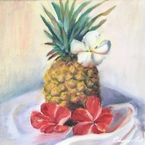 パイナップルとハイビスカスとプルメリア(油絵)
