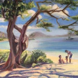 朝のカハラビーチ