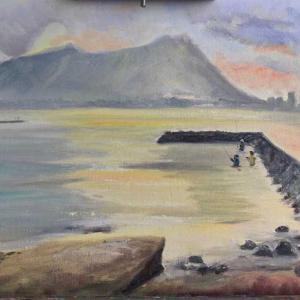 ワイキキ Cresent Beach (油絵)